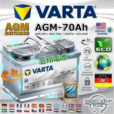 《鋐瑞電池》德國華達電池 VARTA E39 AGM 12V-70AH GOLF SKODA A3 V40 啟停系統