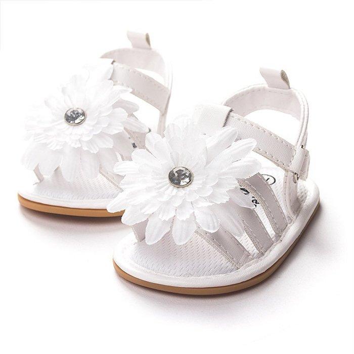 寶貝倉庫~白色花公主軟膠涼鞋~學步鞋~寶寶鞋~學走鞋~娃娃鞋~幼兒鞋~童鞋~粘扣設計~穿脫方便~彌月贈禮