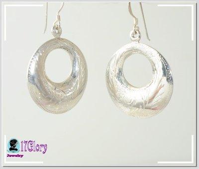 延禧必備素面古典925純銀耳環 素銀刻花美感  銀亮美人 優雅古典風穿搭 #現貨 ✽ 17Glory✽