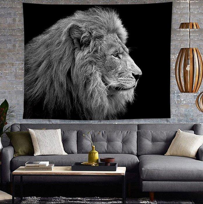 動物掛毯-獅子老虎豹掛布沙發防塵布蓋布客廳書房臥室牆壁裝飾毯掛畫(130*150cm)_☆找好物FINDGOODS☆