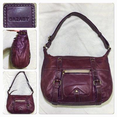 低價起標~日本精品 Sazaby 牛皮斜背包 皮革側背包 真皮馬鞍包 精品包 紫色超美 似Chloe經典款包