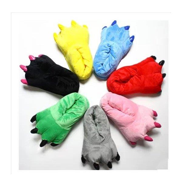 5Cgo【鴿樓】會員有優惠  43706272797 超柔珊瑚絨爪子鞋子恐龍史迪奇毛絨棉拖鞋 兒童睡衣棉鞋套裝