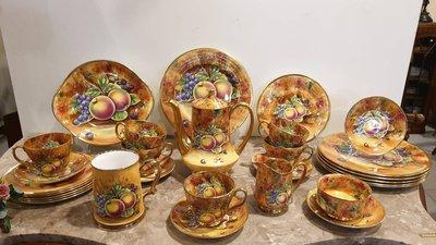 【卡卡頌 歐洲古董】英國老件 漂亮滿工 手繪簽名 Baroness 金水果風情 整組41件(不拆售) p1159 ✬