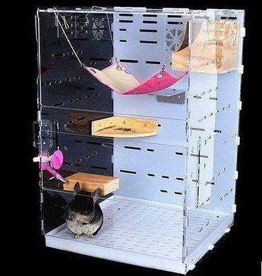 【優上精品】亞克力透明寵物貂籠子用品安格魯貂別墅松鼠籠子蜜袋鼯別墅抽屜式(Z-P3134)