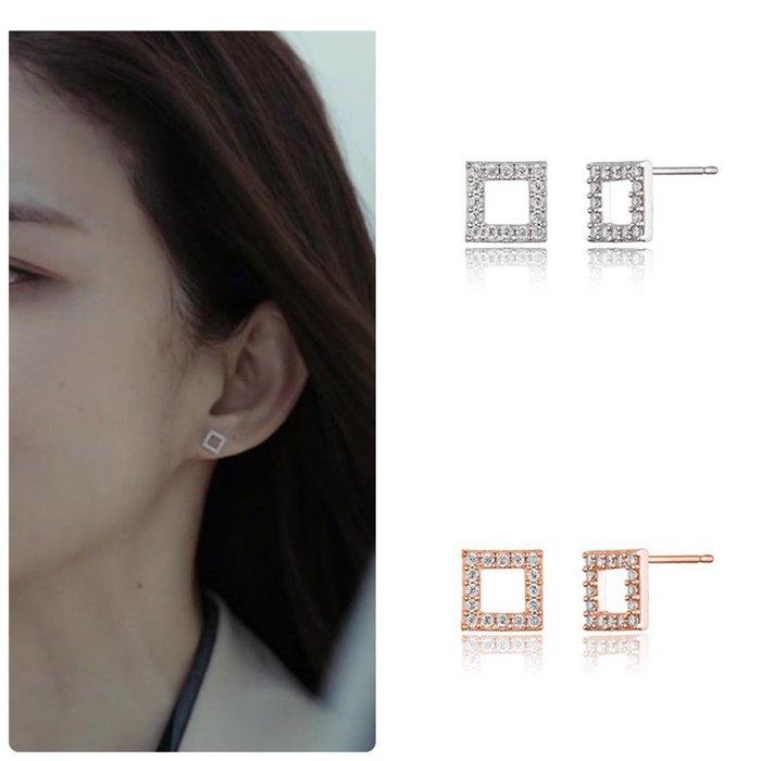 【韓Lin連線代購】韓國 HAESOO.L 海秀兒 - JE2579  925銀 明星款方形鑲鑽耳環