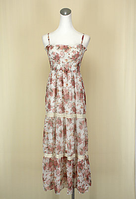 貞新二手衣 TOKYO 東京著衣 粉紅薔薇平口細肩帶雪紡紗洋裝F號似0918款(31035)