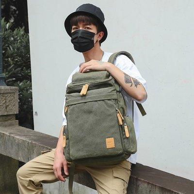 機車旅行包韓版雙肩包男大容量帆布旅游大背包學生書包戶外休閑旅行電腦背包