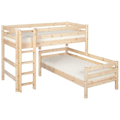 FLEXA Classic Semi-High Beds 中高床兒童房配置樓梯(C款),另提供丹麥原廠獨立筒床墊供選配。