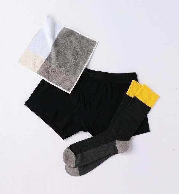 全新日本專櫃正品 UNITED ARROWS BEAUTY & YOUTH  黑色四角褲+襪子+毛巾 質感三件組 L號