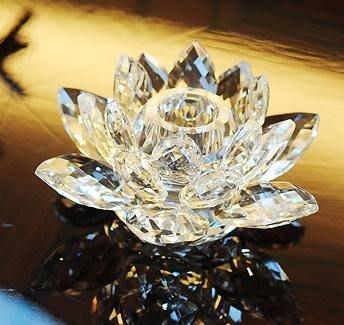 佛燈 歐式水晶玻璃蓮花蠟燭台 供佛燭台供佛燈酥油燈座蓮花燭台擺件