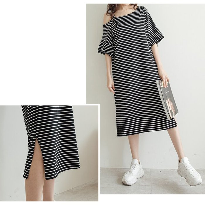 【Hao Da】全館399免運↘「M~XL。現貨」2色 單邊肩帶 寬版長洋裝 (P1273)
