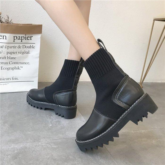 999短靴 靴子 馬丁靴 牛津靴  襪靴彈力靴子女短靴秋新款裸靴粗跟學生英倫百搭機車馬丁靴女