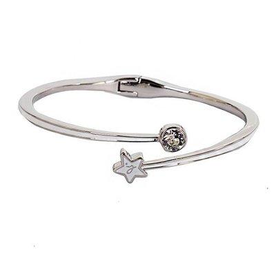 *現貨*2016新品 agnes b. 白底 b-logo&星星 造型帶 施華洛世奇 水鑽 手環