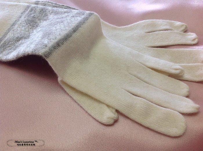 美好年代-極致優雅山茶花蕾絲Super fine 100% Cashmere喀什米爾中長款織花針織手套-限量販售中