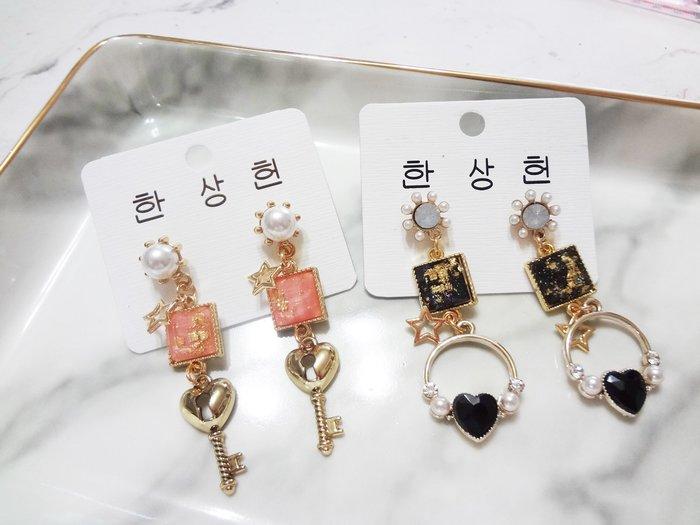 【Love Trina】8161-E783。 一般針。金箔感方塊+鑰匙/愛心耳針式耳環--一般針(2色)
