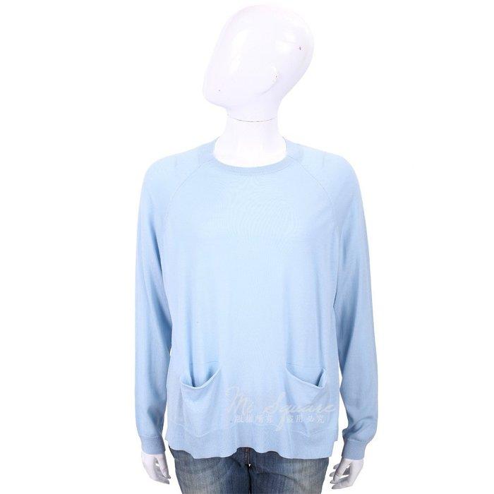 米蘭廣場 ALLUDE 100%羊毛水藍色雙口袋針織衫 1740254-27