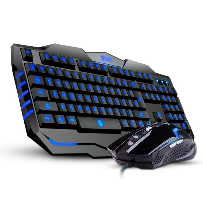 【瘋狂夏折扣】德意龍機械手感有線鍵盤鼠標套裝 游戲背光鍵鼠電腦台式筆記本USB