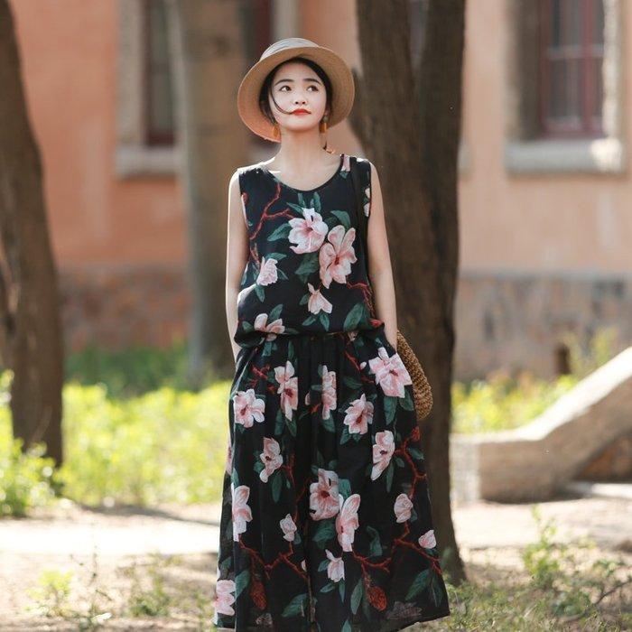 【鈷藍家】棉麻臆想 紙扇夏季新品亞麻印花寬鬆套頭背心和鬆緊腰半身裙 兩件式套裝