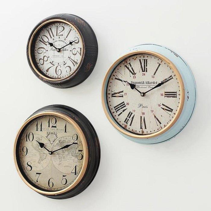 YEAHSHOP 美式鄉村創意仿古時鐘客廳餐廳臥室墻上鐘錶掛鐘歐式復古靜音掛錶Y185