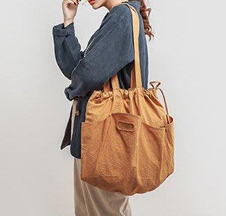 SeyeS   雜誌款!基本款自然風大容量洗舊感抽繩肩背帆布大包