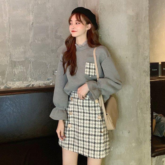 2019秋冬季套裝女韓版時尚拼接長袖衛衣復古格子毛呢半身裙兩件套  衣品居 YPJ
