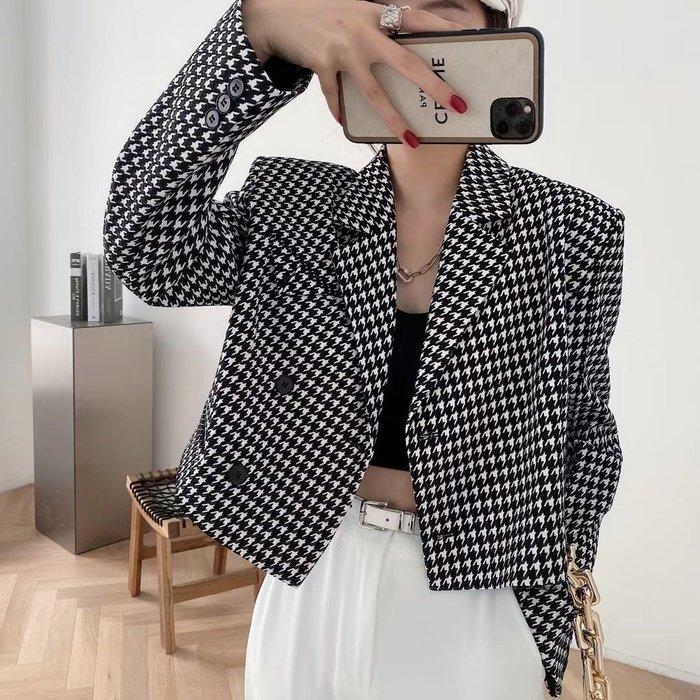 PapaDarling 20SSw 時尚復古千鳥格短款 西裝外套