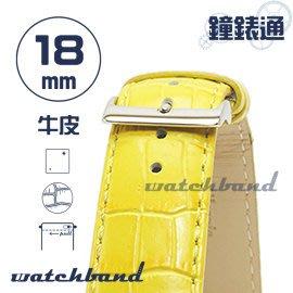 【鐘錶通】C1.32I《亮彩系列》鱷魚格紋-18mm 檸檬黃┝手錶錶帶/皮帶/牛皮錶帶┥