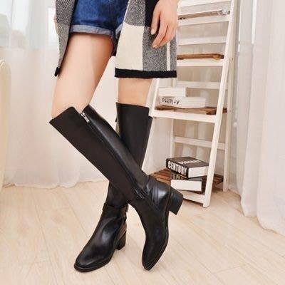 真皮過膝靴 低跟長靴-簡約個性皮帶扣時尚女鞋73iv47[獨家進口][米蘭精品]