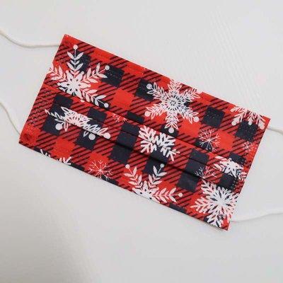 紅格雪花 成人平面口罩50入 非醫用 成人一次性口罩三層防護 冬季造型口罩 聖誕口罩 格紋口罩