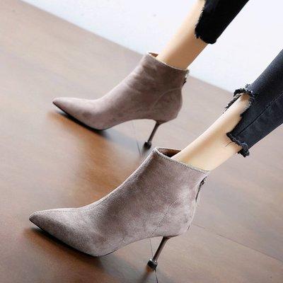 短靴 馬丁靴 高跟 韓版 婚鞋秋冬新款尖頭簡約絨面馬丁靴細跟水鉆高跟鞋公主時尚短靴裸靴