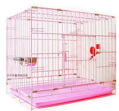 單門 2尺粉紅色靜電式狗籠靜電烤漆摺疊籠狗籠+飲水器+白鐵碗☆米可多寵物精品福袋組☆