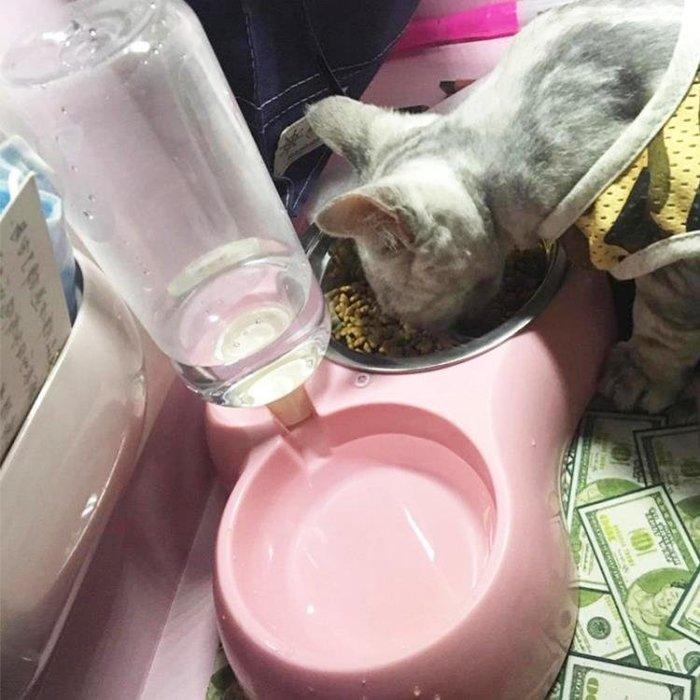 寵物狗碗貓咪雙碗不銹鋼自動飲水器泰迪貓狗糧盆喂食器大號用品