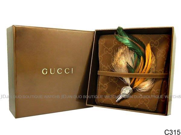 金鐸精品~C315 GUCCI 古馳 家徽系列 歐洲傳統羽毛 帽飾 全新品
