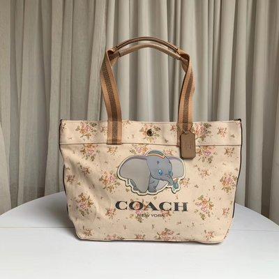 【小怡代購】 全新 COACH 91119 美國正品代購新款女士帆布托特包 Disney聯名款 購物袋 超低直購