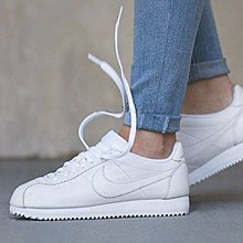 Nike Classic Cortez 全白 皮革 復古 阿甘 慢跑鞋 807471-102 好搭 情侶鞋