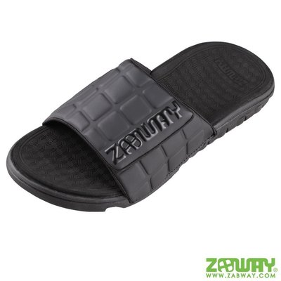 [穿斷換給你]女鞋 棒球魔鬼氈經典黑時尚拖鞋【ZABWAY】一年內穿斷換給你