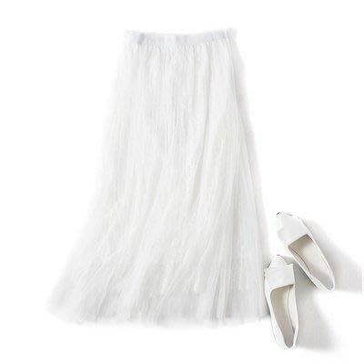 A170 專櫃柔軟3層網紗拼接鬆緊腰修身顯瘦百褶裙蛋糕裙