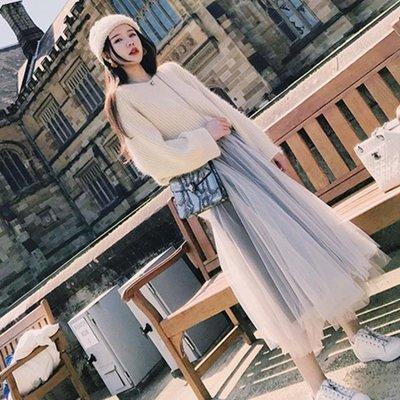 毛衣加裙子洋裝    小香風氣質淑女毛衣配網紗裙子兩件套女神范時髦套裝