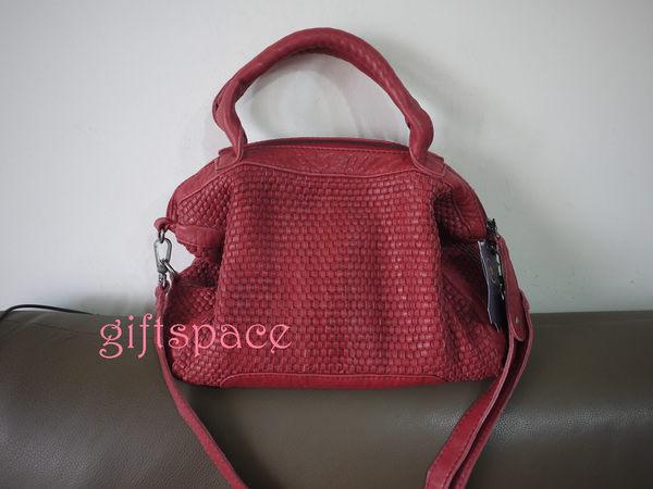 義大利設計師款le queen 水洗小羊皮編織高質感設計型款手提肩背斜背三用包 紅色現貨
