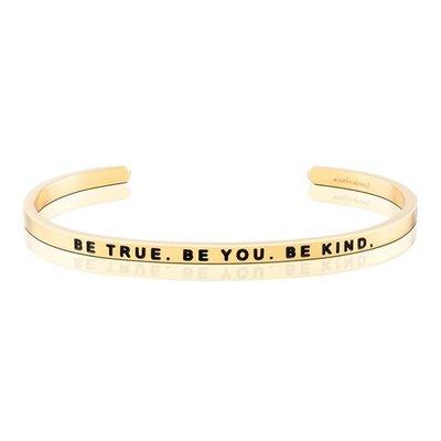 MANTRABAND 台北ShopSmart直營店 美國悄悄話手環 Be True Be You Be Kind 金色