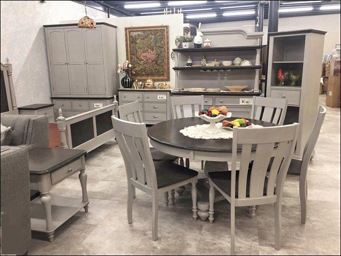 美國Lifestyle 美式鄉村風實木仿舊雙色圓形餐桌+六椅一套 圓圓滿滿圓桌子橡膠木飯桌椅組會議桌休閒桌【歐舍傢居】