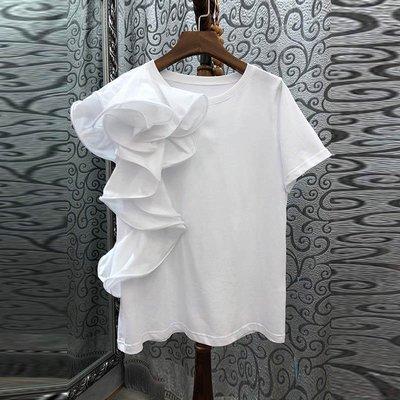《巴黎拜金女》單側木耳壓褶純色短袖T卹黑/白