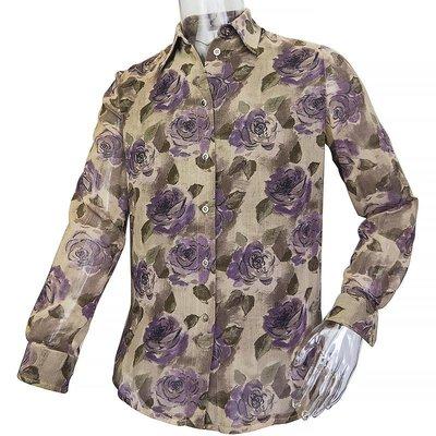 義大利品牌Marly's 1981純羊毛玫瑰長袖襯衫 42號 義大利製
