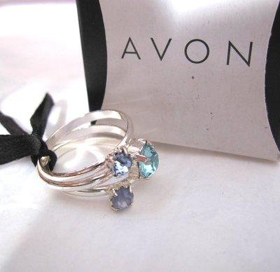 【戴大花2】經典【Avon】2011年 亮銀 Zuri Stacks 藍綠 3顆美鑽 戒指X3 套組 #F100