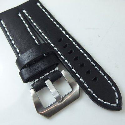 錶帶屋 20mm 22mm 24mm 26mm直身義大利雙層加厚黑色車白線粗曠代用Classic S3  各款大錶專用