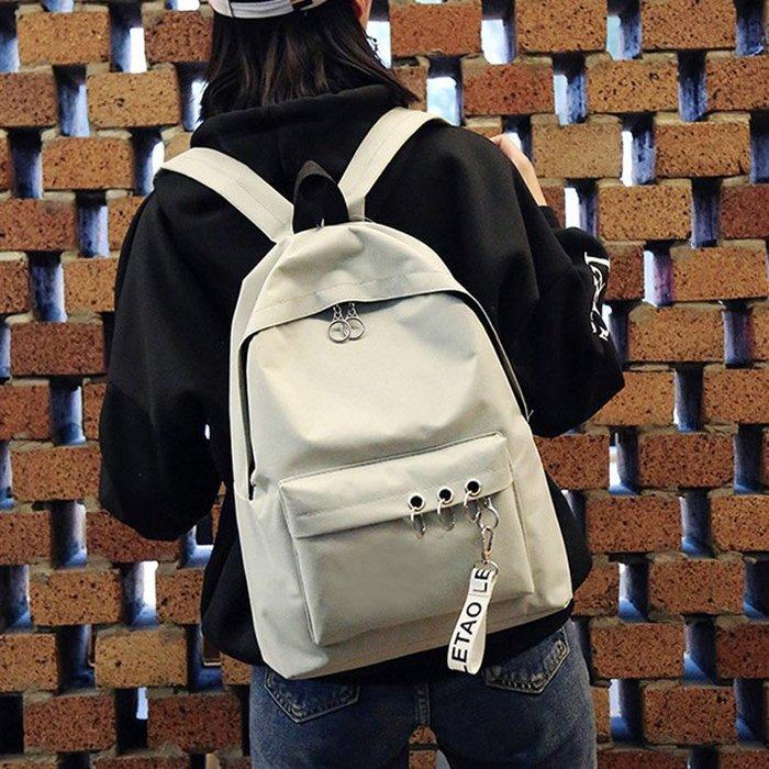鏈條 百搭 復古 歐美 時尚書包女中學生韓版校園旅行大背包森系 學院風雙肩包帆布電腦包男