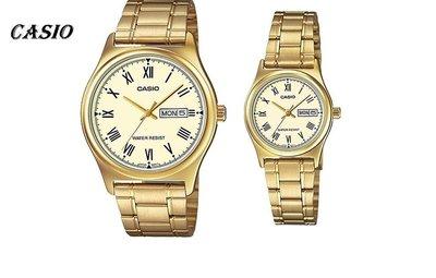 CASIO簡潔大方的三針-時分秒針設計MTP-V006G-9B  LTP-V006G-9B  金色時尚情人對錶