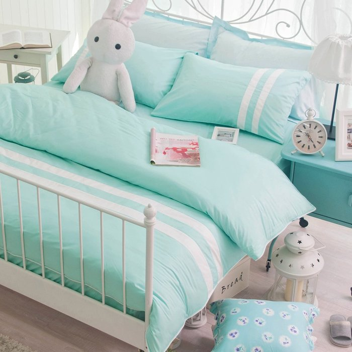 【OLIVIA 】 CUTIE1 湖水綠X白   標準雙人床包枕套三件組【不含被套】 素色玩色系列