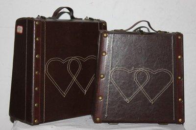 INPHIC-皮革工藝古董箱 仿舊箱子 手提箱2件套
