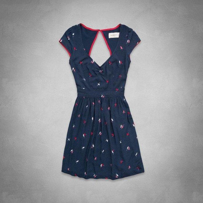 Maple麋鹿小舖 Abercrombie&Fitch * AF 深藍色圖樣露背洋裝 * ( 現貨L號 )